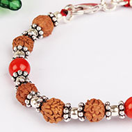 6 mukhi Java Bracelet with Coral in silver ch..