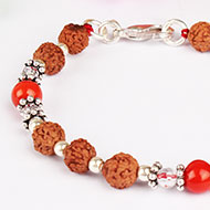 6 mukhi Java Bracelet with Coral and Sphatik