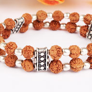 6 mukhi Java Double Turn Bracelet in Silver balls