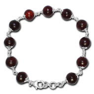 Red Sandalwood Bracelet in silver caps