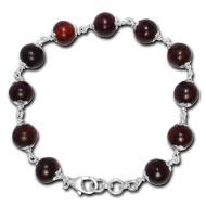 Red Sandalwood Bracelet in silver caps