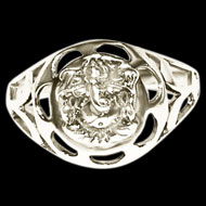 Ganesha Ring in Pure Silver - Design X