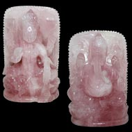 Divine Pair Ganesh Laxmi in Rose Quartz