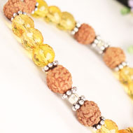 4 mukhi Java Bracelet with Citrine beads in silver chakri