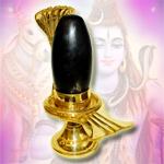 Brass Yoni base with Black Narmada Shivling