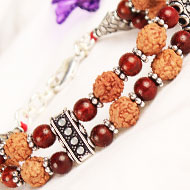 4 mukhi Java Double turn Bracelet with Red Sandalwood beads