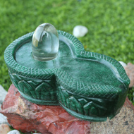 Sphatik Lingam with Greenjade yoni base - 904 gms