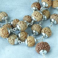 Rare 7 mukhi Mahalaxmi mala in plain silver caps - 10mm