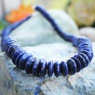 Blue Sapphire Mala - Button Shaped Beads