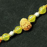 12 Mukhi Rakhi Citrine Beads with Panchdhatu and silver accessories - I