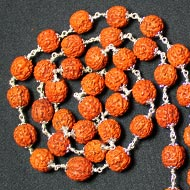 Rudraksha Mala - Chikna Beads with Silver Flower Caps