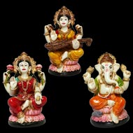 Laxmi Ganesh and Saraswati Idols Set - I