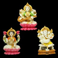 Laxmi Ganesh and Saraswati   Idols Set - II