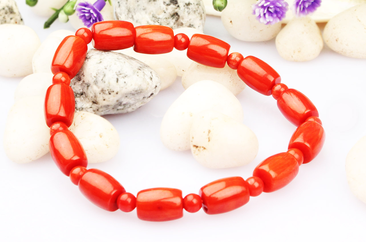 Drum Shape Coral Bracelet