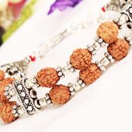 4 mukhi Java Double Turn Bracelet in silver chakri