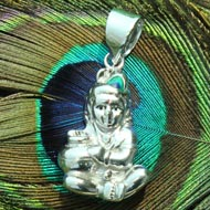 Krishna Locket in Pure Silver - Design I