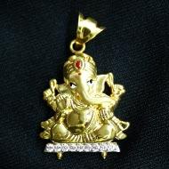 Ganesh Pendant in Gold - Design CVII