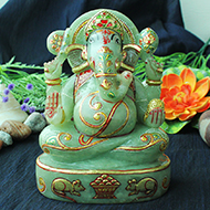 Exotic Ganesh Idol in Green Jade - 1497 gms