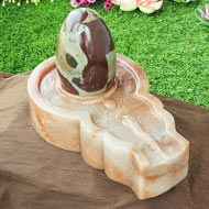 Narmada Lingam with Red Jade Yonibase - I