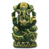 Exotic Ganesh Idol in Columbian Green Jade - 1845 gms