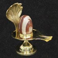 Brass Yoni base with Narmada Shivling - XVI