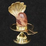 Brass Yoni base with Narmada Shivling - XVIII