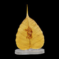 Gold Plated Lord Krishna and Radha on a Peepal Leaf