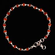 Rudraksha Bracelet in silver with self design caps - 4mm