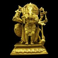 Ganesha with Lion in Brass