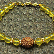 4 Mukhi Rakhi Citrine Beads with Panchdhatu Chakri