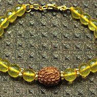 4 Mukhi Rakhi Citrine Beads with Panchdhatu Chakri
