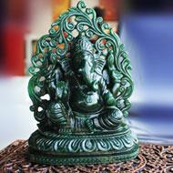 Majestic Ganesha in Green Jade