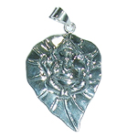 Ganesh Locket on Leaf - in Pure Silver