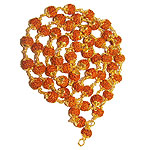 6mm Chikna bead mala in gold with self design..