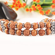6 mukhi Java Double Turn Bracelet with Sandalwood in Silver Chakri