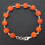 Punch Mukhi Rudraksha Bracelet - Chikna Bead - IV