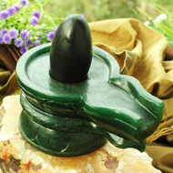 Black  Narmada Lingam with   Green  Jade Yonibase - X