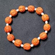 Punch Mukhi Rudraksha Bracelet -Chikna Bead - VI