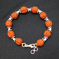 Punch Mukhi Rudraksha Bracelet - Chikna Bead - VIII