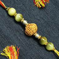8 Mukhi Rakhi and Cats Eye beads with Panchdhatu Chakris - I