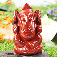 Ganeshji in Red Jasper - 132 gms