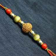 8 Mukhi Rakhi Cats Eye and Coral beads with P..