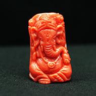 Coral Ganesha - 27.85 carats