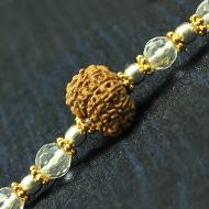 10 Mukhi Rakhi Sphatik Beads with Silver and Panchdhatu accessories
