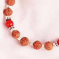 6 mukhi Java Bracelet with Coral