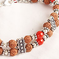 6 mukhi Java Double Turn Bracelet with Coral