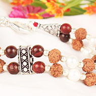 6 mukhi Java Double Turn Bracelet with Pearl and  Red Sandalwood
