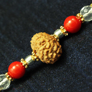 10 Mukhi Rakhi Sphatik Coral Beads with Panchdhatu and silver accessories