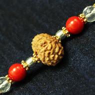 10 Mukhi Rakhi Sphatik Coral Beads with Panchdhatu and silver accessories