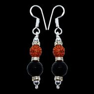 Rudraksha and Black Onyx Earrings - III